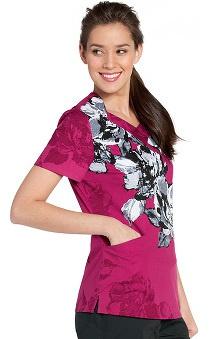 Landau Women's Crossover Floral Print Scrub Top