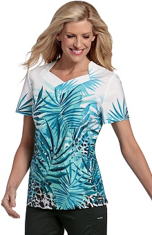 Clearance Landau Women's Crossover Tropical Print Scrub Top