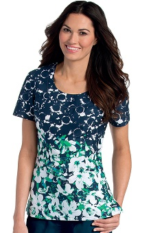 Landau Women's Scoop Neck Floral Print Scrub Top