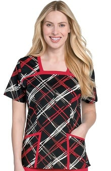 Clearance Landau Women's Square Neck Plaid Print Scrub Top