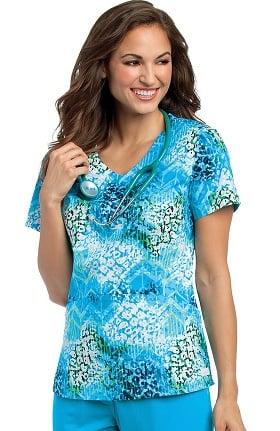 Clearance Landau Women's V-Neck Angled Seam Floral Print Scrub Top