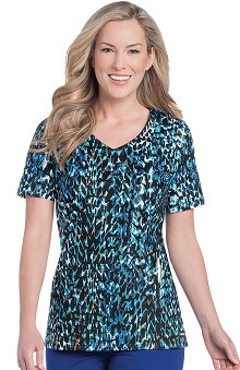 Landau Women's V-Neck Abstract Print Scrub Top