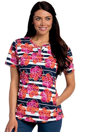Landau Women's Notch Neck Floral Print Scrub Top