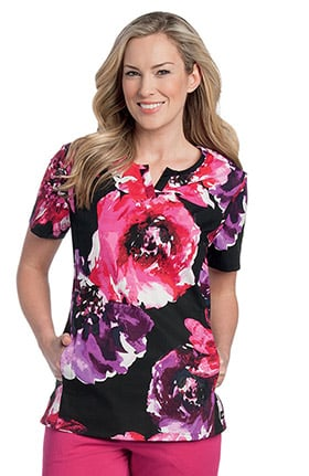 Landau Women's Notch Neck Princess Seam Floral Print Scrub Top