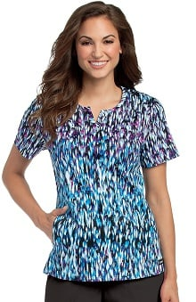 Landau Women's Notch Neck Princess Seam Abstract Print Scrub Top