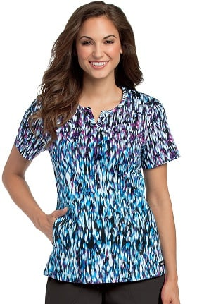 Clearance Landau Women's Notch Neck Princess Seam Abstract Print Scrub Top