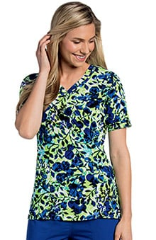 Landau Women's Sweetheart Neck Floral Print Scrub Top