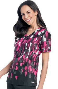 Clearance Landau Women's V-Neck Razor Pocket Floral Print Scrub Top