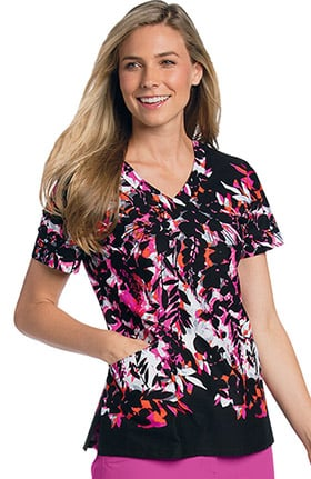 Landau Women's V-Neck Razor Pocket Tropical Print Scrub Top