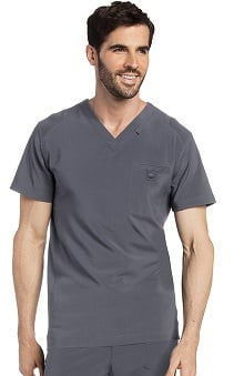 Landau Men's Media V-Neck Solid Scrub Top
