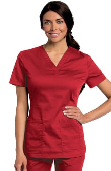 All Day by Landau Women's Y-Neck Solid Scrub Top