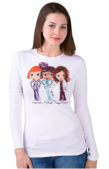Landau Women's Long Sleeve Scoop Neck Nurses Stick Together Printed T-Shirt