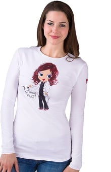 Landau Women's Long Sleeve Scoop Neck Tell Me Where It Hurts Printed T-Shirt
