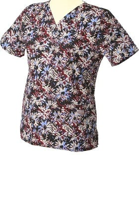 Clearance ScrubZone by Landau Women's V-Neck Floral Print Scrub Top