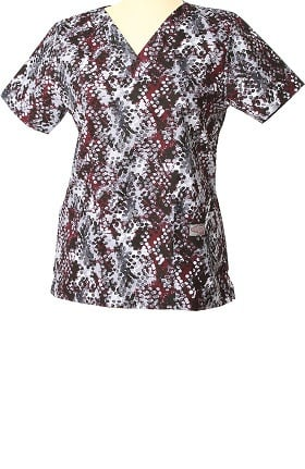 Clearance ScrubZone by Landau Women's V-Neck Abstract Print Scrub Top