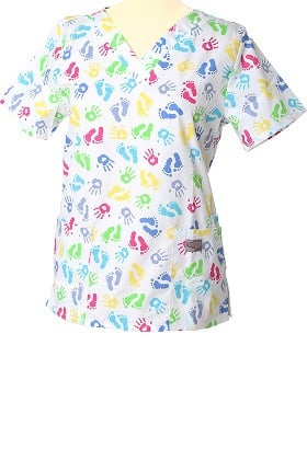 Clearance ScrubZone by Landau Women's V-Neck Pediatric Print Scrub Top