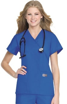 Clearance ScrubZone by Landau Women's Crossover Solid Scrub Top