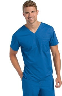 Landau Men's V-Neck Solid Scrub Top