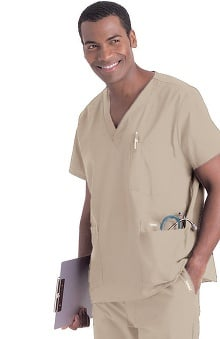 tall: Landau Men's 5-Pocket Solid Scrub Top