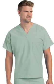 unisex tops: Landau Unisex Reversible V-Neck Classic Fit Solid Scrub Top