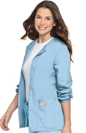 Clearance ScrubZone by Landau Women's Warm Up Solid Scrub Jacket
