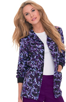 Landau Women's Crew Neck Abstract Print Warm Up Jacket
