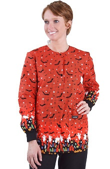 Landau Women's Crew Neck Warm-Up Halloween Print Scrub Jacket
