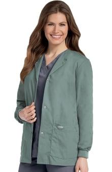 dental : Landau Women's Crew Neck Warm-Up Solid Scrub Jacket