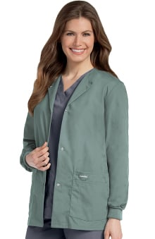 Landau Women's Crew Neck Warm-Up Solid Scrub Jacket