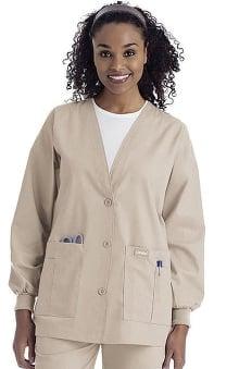 dental : Landau Women's V-Neck Cardigan Style Warmup Solid Scrub Jacket