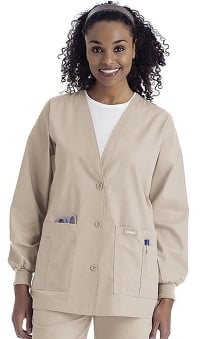 Landau Women's V-Neck Cardigan Style Warmup Solid Scrub Jacket