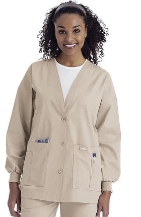 Clearance Landau Women's V-Neck Cardigan Style Warmup Solid Scrub Jacket