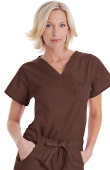 clearance10: Landau Women's Shaped V-Neck Tunic Solid Scrub Top