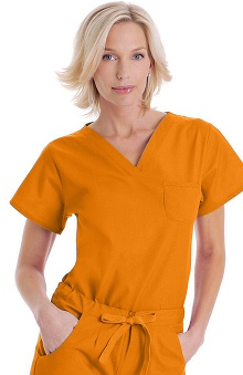 Clearance Landau Women's Shaped V-Neck Tunic Solid Scrub Top