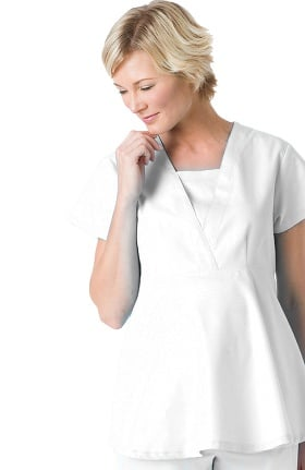 Landau Women's Empire Waist Maternity Solid Scrub Top