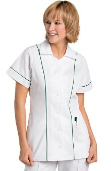 Clearance Landau Women's Student Tunic with Colored Piping Insets Solid Scrub Top