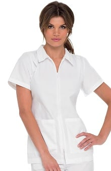 Landau Women's Collared Zipper Front Student Tunic Solid Scrub Top