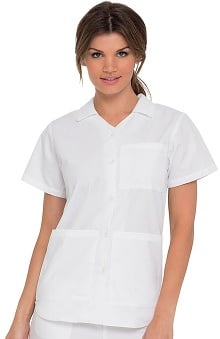 Landau Women's Collared Button Front Nursing Student Solid Scrub Top