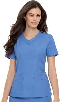 Landau Women's Rounded V-Neck Solid Scrub Top
