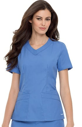 Clearance Landau Women's Rounded V-Neck Solid Scrub Top