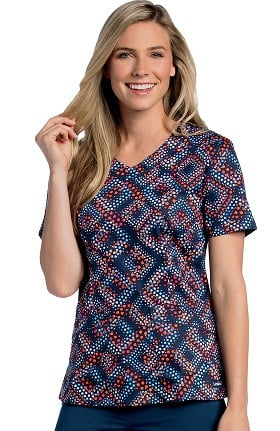 Clearance Landau Women's Rounded V-Neck Geometric Print Tunic Scrub Top