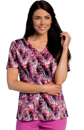 Landau Women's Rounded V-Neck Tropical Print Tunic Scrub Top
