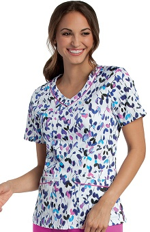 Clearance Landau Women's Rounded V-Neck Floral Print Scrub Top