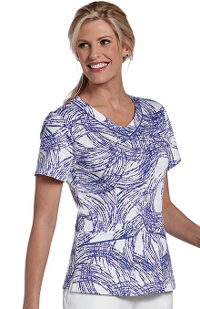 Landau Women's Rounded V-Neck Lines Print Scrub Top