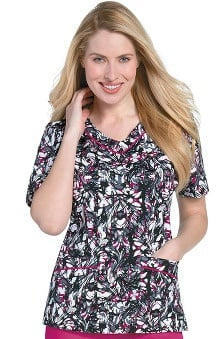 Clearance Landau Women's Rounded V-Neck Abstract Print Scrub Top