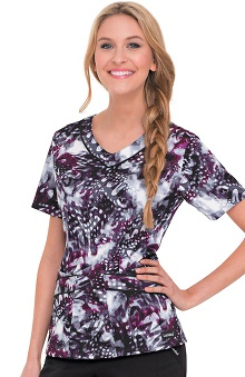Landau Women's Rounded V-Neck Natures Flight Print Scrub Top