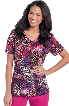 Landau Women's Rounded V-Neck Animal Print Scrub Top