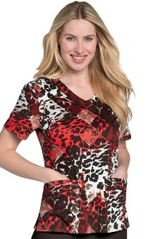 Clearance Landau Women's Rounded V-Neck Primal Print Scrub Top