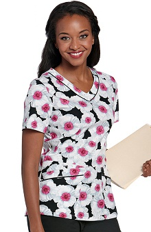 Landau Women's Rounded V-Neck Pretty Poppy Print Scrub Top