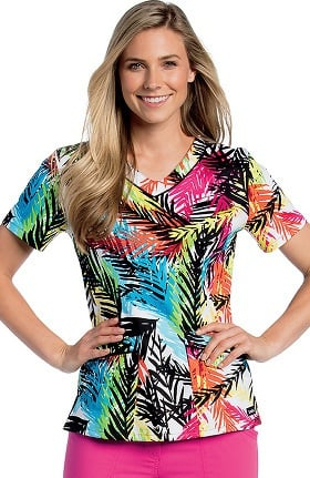 Landau Women's Rounded V-Neck Tropical Print Scrub Top